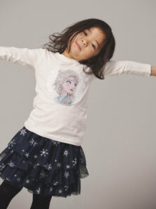 Biele dievčenské tričko s magickými flitrami name it Frozen Nevaeh