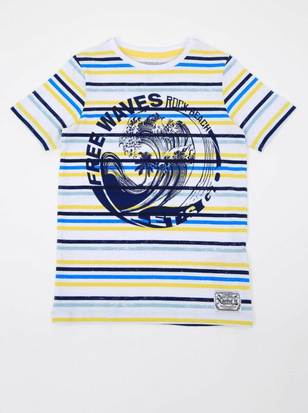 Modro-biele chlapčenské pruhované tričko name it Fonzo