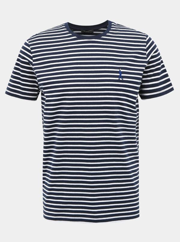 Tmavomodré pruhované tričko Selected Homme Estate
