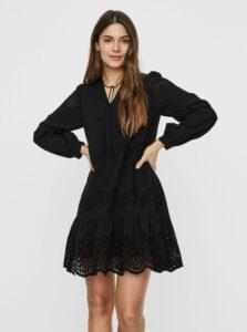 Čierne šaty s madeirou VERO MODA Olivia