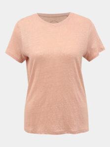 Ružové ľanové basic tričko ONLY Patrice