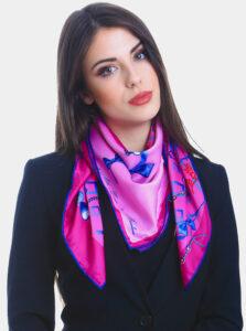 Fialovo-ružová dámska vzorovaná šatka Versace 19.69