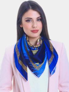Modrá dámska vzorovaná šatka Versace 19.69