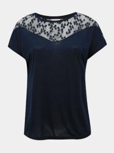 Tmavomodré tričko s krajkou ONLY CARMAKOMA Linn