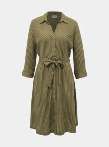 Kaki pruhované košeľové šaty Jacqueline de Yong Robbie