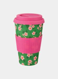 Ružovo-zelený kvetovaný cestovný hrnček Sass & Belle Frida