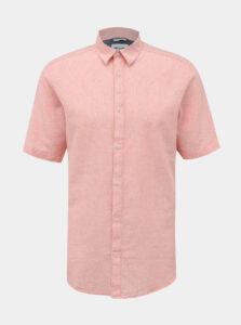 Ružová ľanová košeľa ONLY & SONS Caiden