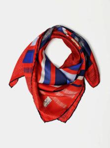 Modro-červená dámska vzorovaná šatka Versace 19.69
