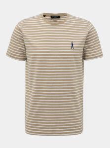 Béžové pruhované tričko Selected Homme Estate