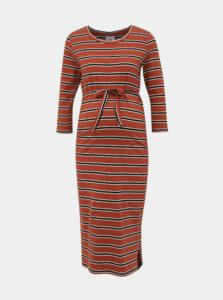Hnedé pruhované tehotenské šaty Mama.licious Naya