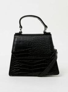 Čierna crossbody kabelka s krokodýlím vzorom Pieces Nella
