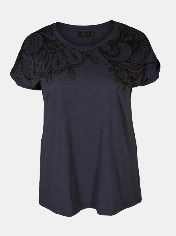 Tmavomodré vzorované tričko Zizzi Leah