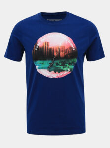Tmavomodré tričko s potlačou Jack & Jones Urban Strike