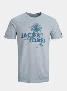 Svetlomodré tričko s potlačou Jack & Jones Abre
