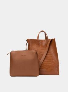 Hnedá kabelka s krokodýlím vzorom a odnímateľným púzdrom Claudia Canova Retta