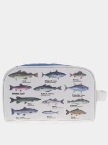 Biela kozmetická taštička s potlačou rýb Gift Republic
