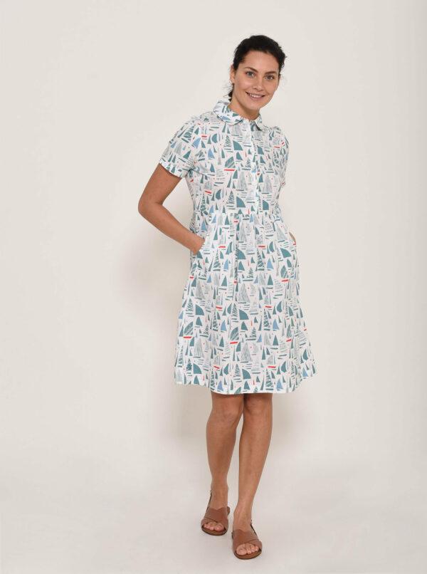 Modro-biele vzorované košeľové šaty Brakeburn