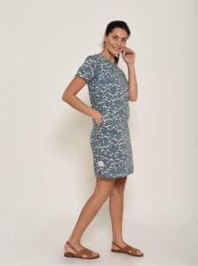 Modré ľanové kvetované šaty Brakeburn