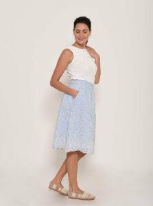 Modrá pruhovaná sukňa s madeirou Brakeburn