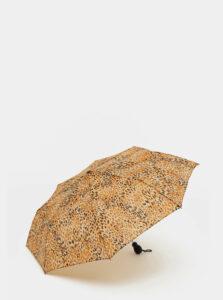 Hnedý vystreľovací dáždnik s leopardím vzorom Rainy Days