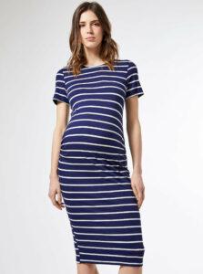 Modré pruhované tehotenské basic šaty Dorothy Perkins Maternity