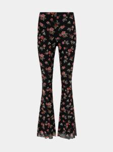 Čierne kvetované flared fit nohavice TALLY WEiJL