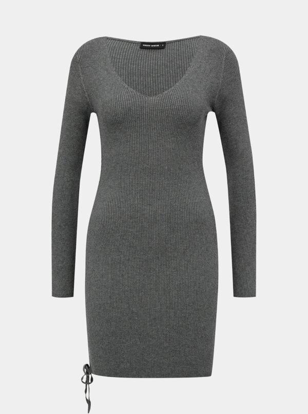 Šedé rebrované šaty TALLY WEiJL