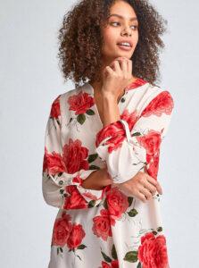 Červeno-krémová kvetovaná blúzka Dorothy Perkins