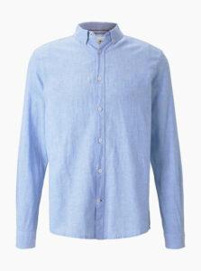 Svetlomodrá pánska ľanová košeľa Tom Tailor
