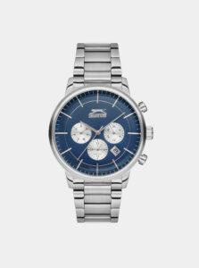 Pánske hodinky s kovovým remienkom v striebornej farbe Slazenger