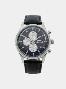 Pánske hodinky s modrým koženým remienkom Slazenger