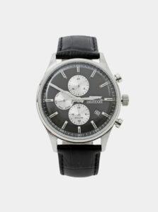 Pánske hodinky s čiernym koženým remienkom Slazenger