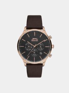 Pánske hodinky s hnedým koženým remienkom Slazenger