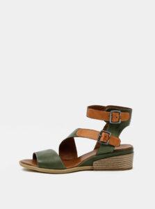 Zelené kožené sandálky na plnom podpätku WILD