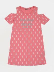 Ružové dievčenské vzorované šaty Blue Seven