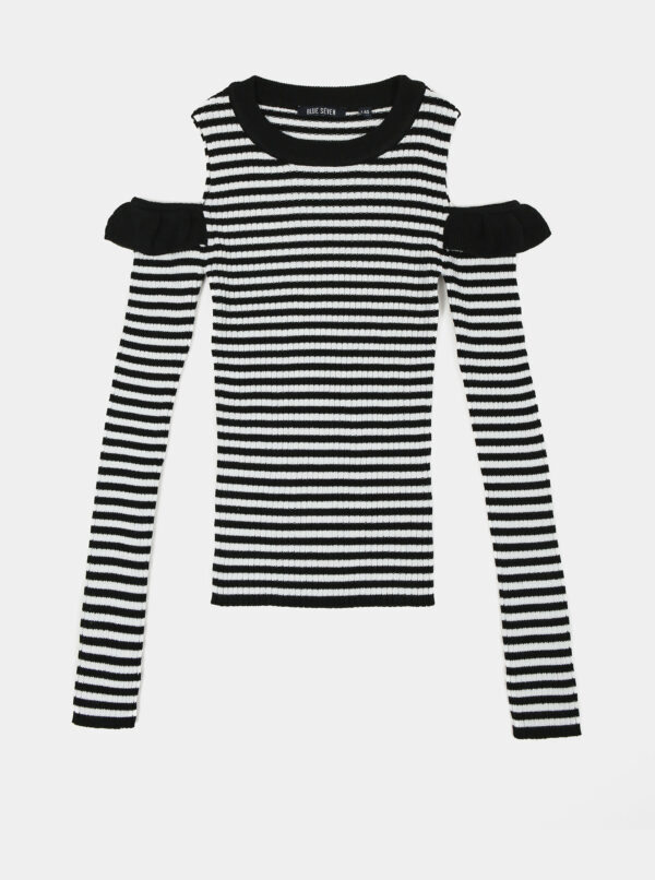 Čierno-biele dievčenské pruhované tričko Blue Seven