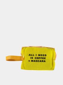 Žltá kozmetická taštička Haily´s Coffee and Mascara