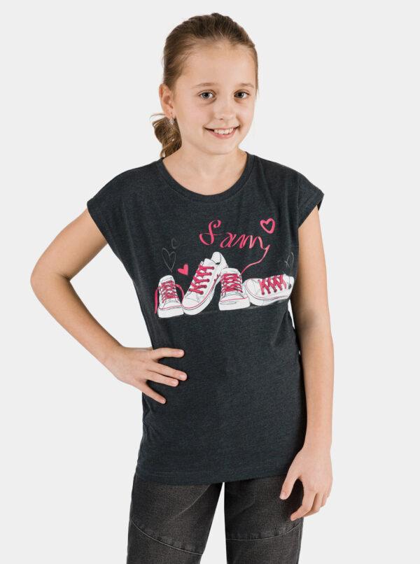 Čierne dievčenské tričko s potlačou SAM 73