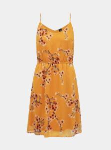 Horčicové kvetované šaty VERO MODA
