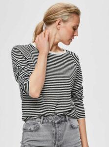 Bielo-čierny pruhovaný ľanový ľahký sveter Selected Femme