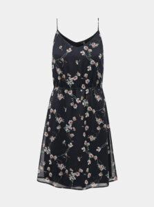 Tmavomodré kvetované šaty VERO MODA