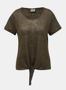Kaki ľanové pruhované tričko VERO MODA
