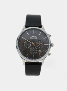 Pánske hodinky s čiernym koženým opaskom Slazenger