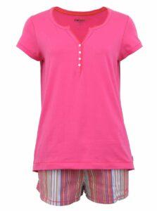 Ružové pyžamo s pruhovanými kraťaskami DKNY