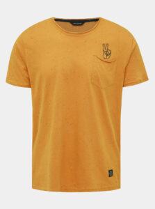 Horčicové vzorované tričko Shine Original