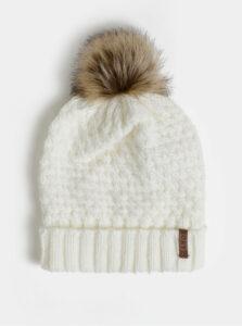 Biela čapica s bambuľou Roxy Blizzard Beanie