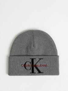 Šedá čapica s výšivkou Calvin Klein Jeans