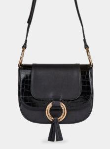 Čierna crossbody kabelka s hadím vzorom Dorothy Perkins Saddle