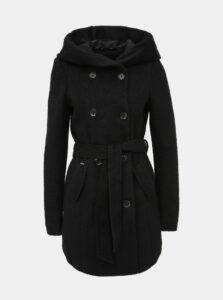 Čierny kabát s prímesou vlny VERO MODA Munich