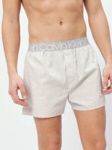 Šedo-béžové pruhované pánske trenýrky Calvin Klein Underwear